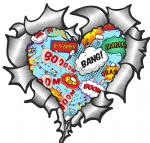 Ripped Torn Metal Heart with Retro Comic Book Kapow Bubbles Motif External Car Sticker 105x100mm
